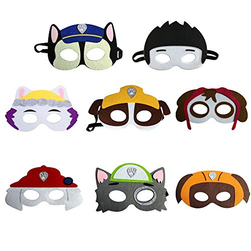 Paw Patrol Halloween Costumes Rubble (PAW Patrol Party Masks 8 Assorted Felt Masks Cartoon Hero Party Favors Dress Up)