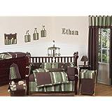 Sweet Jojo Designs Ethan Green and Brown Modern Boys Baby Bedding 9pc Crib Set