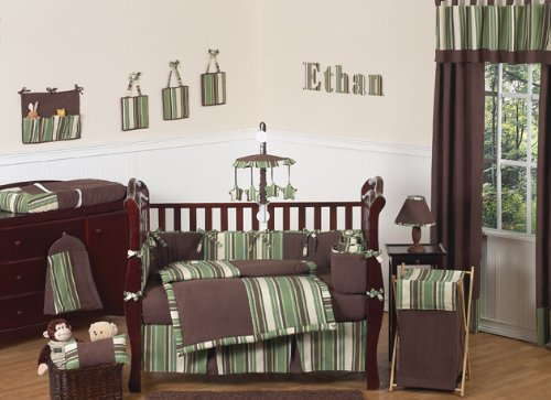 Sweet Jojo Designs Ethan Green and Brown Modern Boys Baby Bedding 9pc Crib Set