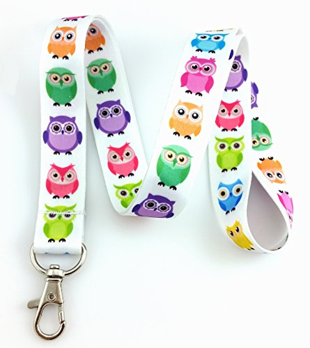 Bright Owl Print Lanyard Key Chain Id Badge ()