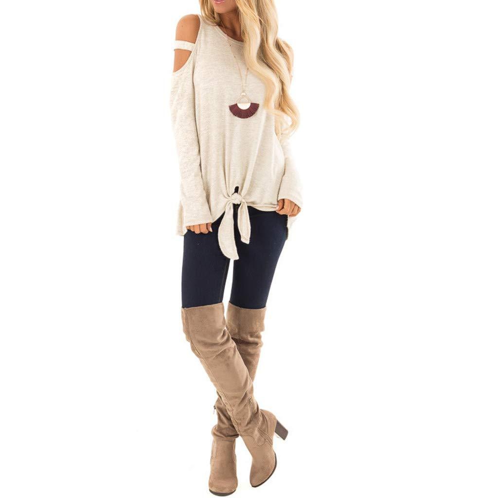 Magliette Donna MEIbax Spalle Scoperte Bandage Pullover Felpe Donna Tumblr Top Manica Lunga Elegante Tops Camicetta Donne Tops Maglieria