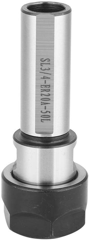 KONGZIR C3//4 ER20A-50L Collet Chuck Holder,3//4 Straight Shank Milling Extension Rod Lathe Rod Spring Chuck Extension Rod