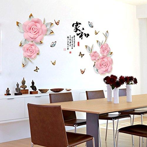 Flor Romántica Pegatinas De Pared Sofá Cama Tv Pegatinas Decorativas Estilo Chino Decoración Del Hogar Sala De Estar…