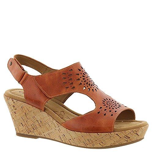 Comfortiva Rainer Wedge Sandals Orange 7 W, Poppy Orange