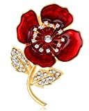 FENGJI Poppy Flower Brooches for Women Remembrance Poppies Pins Rhinestone Brooch Badge Gift