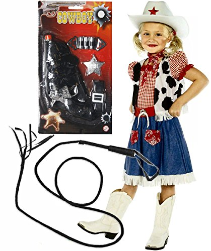 Child Cowgirl Sweetie Costumes (Girls Cowboy Cowgirl Fancy Dress Costume Outfit With Gun & Whip Age 7-9)