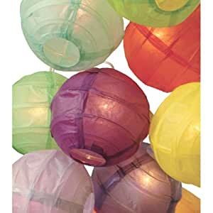 "3.5"" D Multicolor Paper Lantern String Lights (set of 10) by Happy Sales"