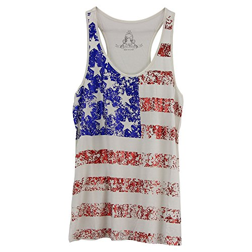 Women's Metallic Patriotic Tank Top (White, Small)