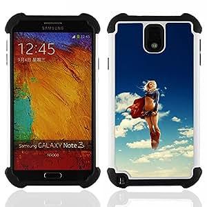 """SAMSUNG Galaxy Note 3 III / N9000 / N9005 - 3 en 1 impreso colorido de Altas Prestaciones PC Funda chaqueta Negro cubierta gel silicona suave (Arco iris de neón león cebra Caza"""")"""