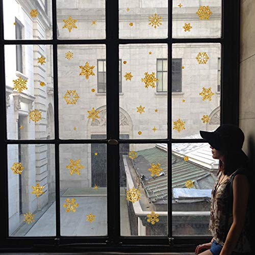 China Ornament Snowflake (China Ware Snowflake Wall Stickers Decorations Door Stickers Ornaments Holiday Atmosphere Shop Window Glass Stickers Bedroom Living Room Wall Decoration (Yellow))