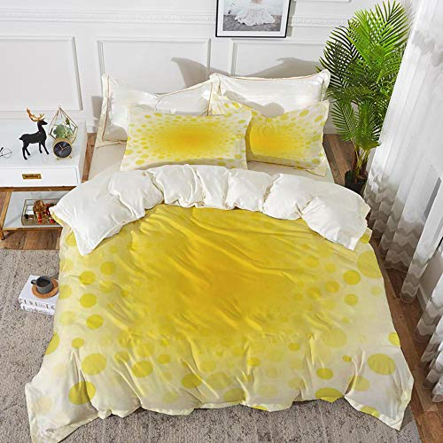 Yaoni Bedding - Duvet Cover Set,Yellow,Abstract Small Circular Dots Patterns and Forms Centered Sun Spot Chic Decorativ,Hypoallergenic Microfibre Duvet Cover Set 68