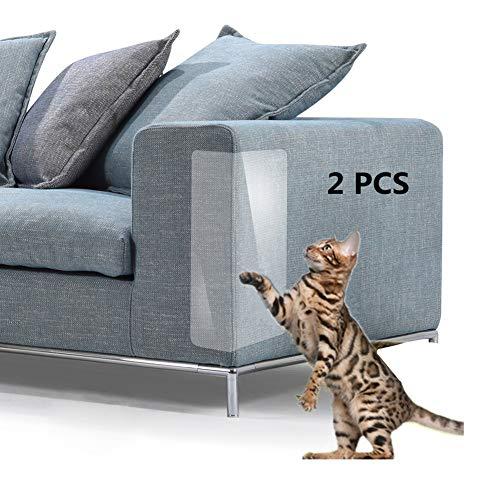Pet Scratch Couch Protector 2 PCS, Furniture Scratch Guards, Clear Vinyl Pet Cat Dog Claw Guards with Self-Adhesive Pads for Upholstery Sofa Walls Mattress Car Seat