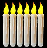 Flameless Timing Function Led Taper Candle Battery Operated Vivid Fake Wax Dipped Amber Flickering Led Small Candles With Timer (6 Hrs on 18 Hrs off) Warm Glow Window Votive For Candlesticks Table