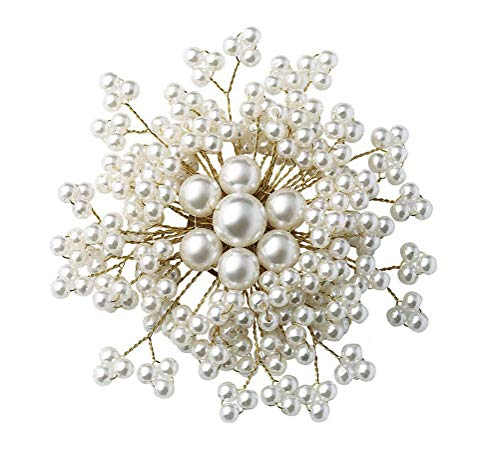 Beaded White Brooch - Ahugehome Women Brooch Pin Beaded Rose Flower Simulated Pearl Crystal jewerly Gift Box (P Pearl White)