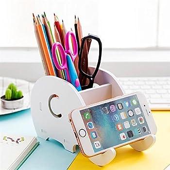 COOLBROS Wood Elephant Pencil Holder With Phone Holder Desk Organizer Desktop Pen Pencil Mobile Phone Bracket Stand Storage Pot Holder Container Stationery Box Organizer