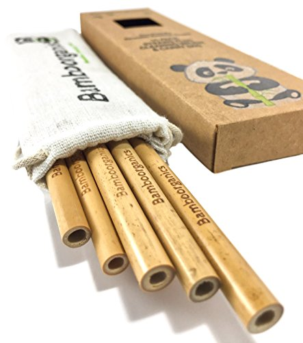 Zero Waste, Reusable, Premium Bamboo Drinking Straws & Natural Cotton Travel Bag | Large Mouth Straw Set of 10 with 2 Cleaning Brushes | Eco-Friendly, Biodegradable | 8in Long by Bamboorganics (Image #7)