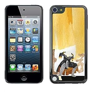 KLONGSHOP // Cubierta de piel con cierre a presión Shell trasero duro de goma Protección Caso - Pintura del samurai - Apple iPod Touch 5 //