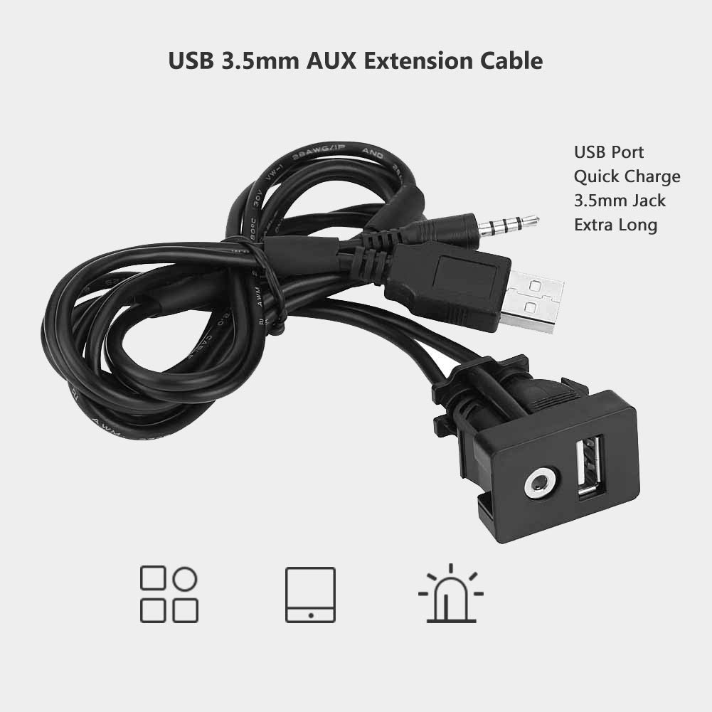 Universal 1M Car USB 3 5mm AUX Extension Cable Male Jack for Toyota, Car,  Vehicle, Marine, Bike, Boat, Motorcycle (1pc)