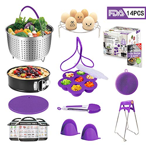 Accessories Set for Instant Pot Fits 5,6,8qt, Pressure Cooker Accessories 14 Pcs, Include Steamer Basket, Pot Holders, Egg Bites Mold Kit,Non-stick Springform Pan, Kitchen Tongs