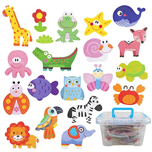 Educational Preschool Toy Christmas Birthday Gift for Boys Girls Insects Kids Jigsaw Puzzle Toy Set with Ocean with Plastic Box Safari Animals WISESTAR 18 Pack Wooden Animal Puzzles for Toddlers