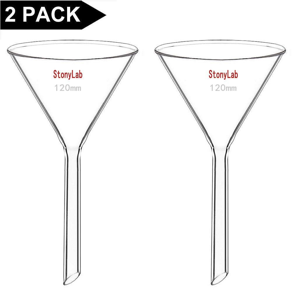 Lunghezza Stelo 100 mm Imbuti da Laboratorio StonyLab 2 Pezzi Imbuto in Vetro Borosilicato Glass Funnel Diametro 100 mm