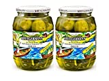 HAND PACKED Fermented dills are made from fresh cucumbers.Genuine dill pickles are placed into a mild salt solution, which allows naturally occurring Lactobacillus to ferment all sugars present in the cucumbers. The result is lactic acid, app...