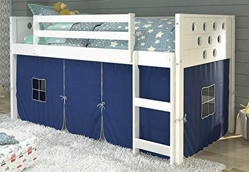 Donco Kids 79 in. Twin Circles Low Loft Bed with Blue Tent 721800