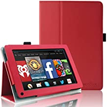Kindle Fire 1st & 2nd Generation Cover Case - HOTCOOL Slim New PU Leather Case For Amazon Original Kindle Fire 2011 (Previous Generation - 1st) And Kindle Fire 2012 (Previous Generation - 2nd) Tablet(Will not fit HD or HDX models), Red