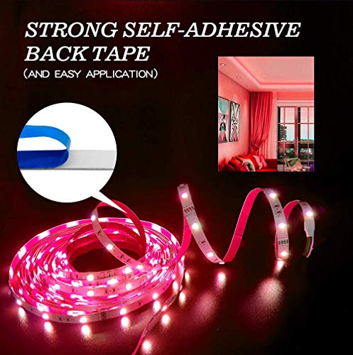 55ft/16M LED Strip Light RGB NUOENXUAN Flexible Rope Lights 5050 SMD RGB 480 LEDs Non Waterproof Tape Light with 44 Keys Wireless Remote Control and 24V Power Adapter for Home Kitchen Holiday Deco