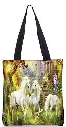 Snoogg Pferde-Kunst-Große Einkaufstasche 13,5 X 15 In Einkaufstasche Dienstprogramm Trage Aus Polyester Leinwand