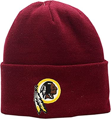 Vintage Washington Redskins Knit Hat Cuffed Burgundy Logo Block