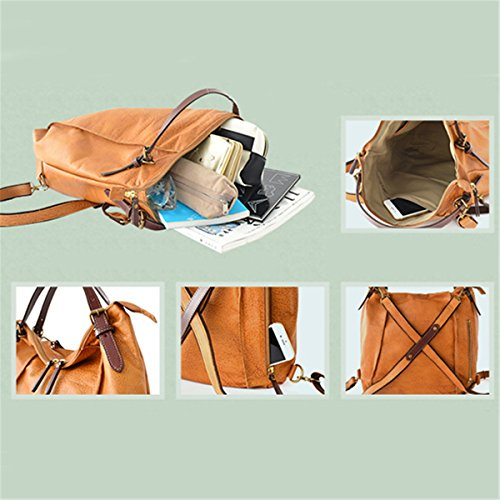 Handbags Coffee Waterproof School Vintage Coffee Brenice Backpack for Travelling for Women Capacity Ladies Cowhide Bags Multifunction Business Shoulder Large Tote EqwHAF