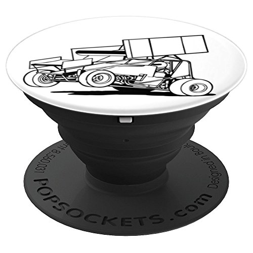 Sprint Car Racing Dirt Track Racing Line Drawing - PopSockets Grip and Stand for Phones and Tablets