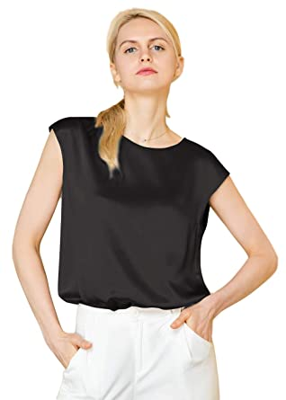 0e93e04b12fa9 LilySil Silk Blouse for Women Short Sleeve Summer Cool Comfy Charmeuse Silk  Tops for Ladies Black