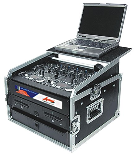 Professional DJ Rack Case With Sliding Laptop Stand - For Controllers, Mixers and Amplifiers - 10 and 8 Top and Bottom Space Storage - Pro ATA 18U By GMI Pro by GMI-Pro (Image #1)