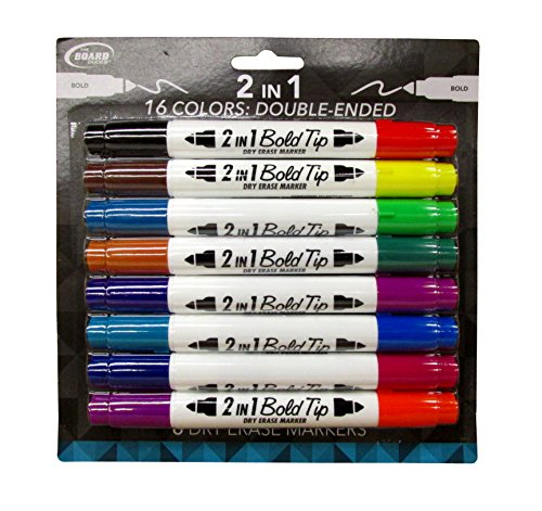 BOLD 2-in-1 Double Sided Dry Erase Markers (16 Colors)