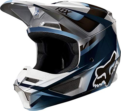 2019 Fox Racing V1 Motif Mens Off-Road Motorcycle Helmet - Blue/Gray / Large