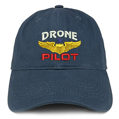 Trendy Apparel Shop Drone Pilot Aviation Wing Embroidered Soft Crown 100% Brushed Cotton Cap - Navy