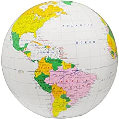 """This detailed inflatable political globe expands to 16"""" in diameter and is a break-resistant way to teach children about the geographical boundaries of the continents on our planet with Latitude and Longitude Lines These globes will last long..."""