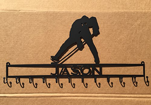 Hockey Player Medal Rack with Custom Text (P18) - Powder Coat Players