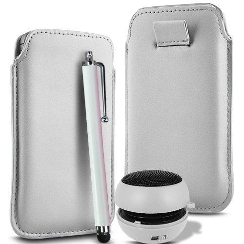 N4U Online - Apple Iphone 5C supérieure PU souple Pull en cuir flip Tab Housse couverture stylet et mini haut-parleur rechargeable - Blanc