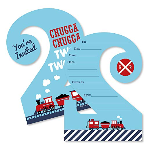 2nd Birthday Railroad Party Crossing - Chugga Chugga Two Two - Shaped Fill-in Invitations - Stream Train Second Birthday Party Invitation Cards with Envelopes - Set of ()