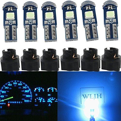 WLJH 6pcs Ice Blue 3/8 Twist Socket T5 LED Wsdge 37 2721 74 3-SMD 3030 LED Dashboard Instrument Cluster Panel Indicator Lights Bulb,Plug and Play