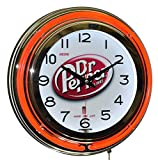 Cheap Drink Dr Pepper Good For Life! Red Double Neon Advertising Clock Wall Decor