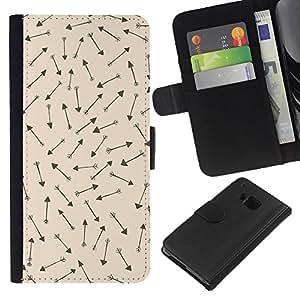 For HTC One M7 Case , Cave Drawings Wallpaper Hunt - la tarjeta de Crédito Slots PU Funda de cuero Monedero caso cubierta de piel