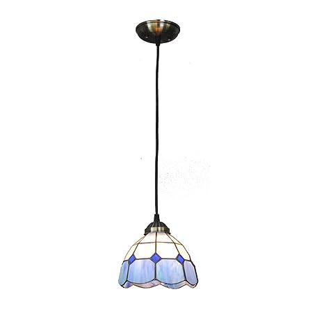 Lampade a sospensione Lampadari blu e bianchi classici da 7 pollici,  lampadari a sospensione del