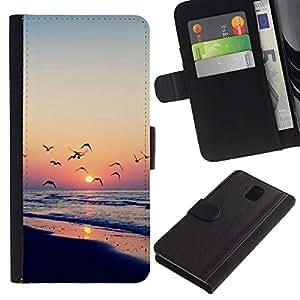 All Phone Most Case / Oferta Especial Cáscara Funda de cuero Monedero Cubierta de proteccion Caso / Wallet Case for Samsung Galaxy Note 3 III // Twilight coast
