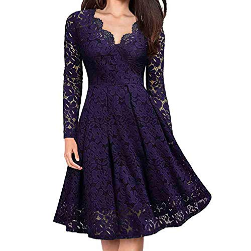 Toimothcn Women Lace Dress Long Sleeve V-Neck Formal Evening Party Swing -
