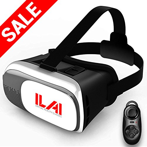3D VR Headset Virtual Reality Glasses for VR Games & 3D Movies with Controller by ILAI - Best 3D VR Glasses Virtual Reality Headset - For all iOS & Android & Windows smartphones within 3.5~6.0 inches