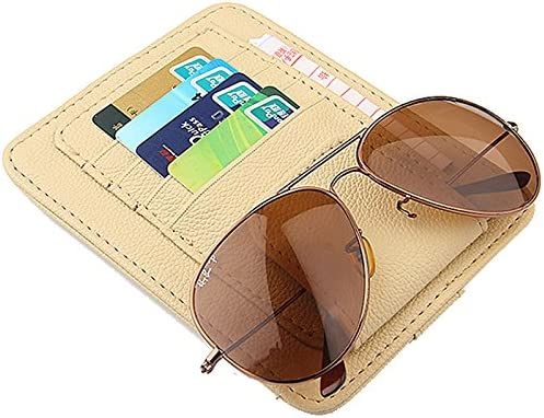 Car Sun Visor Sunshade Interior PU Leather Storage Case Sunglasses Holder Organizer Sleeve Wallet Clips Mount Beige Color